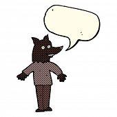 stock photo of werewolf  - cartoon happy werewolf with speech bubble - JPG