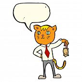 picture of dead mouse  - cartoon business cat with dead mouse with speech bubble - JPG