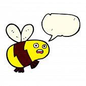 foto of bee cartoon  - cartoon bee with speech bubble - JPG