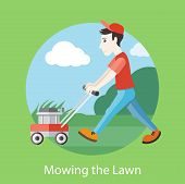 stock photo of lawn grass  - Man moves with lawnmower - JPG