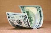 pic of one hundred dollar bill  - New One Hundred USA Dollar Bill On The Rough Paper Background - JPG