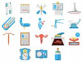 Постер, плакат: Flat design icons vector collection of gynecology