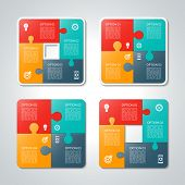 stock photo of diagram  - Set of vector square puzzle business infographic templates - JPG