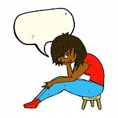 image of stool  - cartoon woman sitting on small stool with speech bubble - JPG
