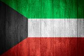 picture of kuwait  - Kuwait flag or Kuwaiti banner on wooden boards background - JPG