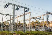 image of transformer  - Impression network at transformer station in sunrise - JPG