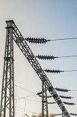 stock photo of transformer  - Impression network at transformer station in sunrise - JPG