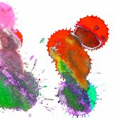 foto of indigo  - Color red orange yellow green blue indigo violet ink stain on a white background - JPG