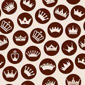 image of crown jewels  - Retro seamless pattern of  crowns - JPG