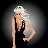 picture of silver-hair  - Young sexy woman in black dress with her hair with silver pearls - JPG