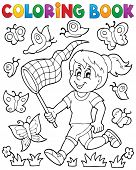 stock photo of chase  - Coloring book girl chasing butterflies  - JPG