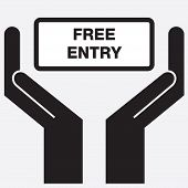 pic of hands-free  - Hand showing free entry sign icon - JPG