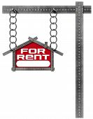 picture of house rent  - Grey metallic meter ruler in the shape of house with text for rent - JPG