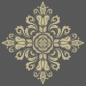 picture of damask  - Damask vector floral pattern with arabesque and oriental golden elements - JPG