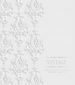 picture of marriage decoration  - Vector 3d Vintage Wedding or Invitation Card with Floral Damask Pattern - JPG