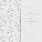 picture of damask  - Vector White Vintage Background with 3d Floral Damask Pattern for Wedding or Invitation Card - JPG