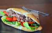 foto of baguette  - Healthy Tuna Baguette With Lettuce - JPG