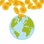 stock photo of bitcoin  - Bitcoin and globe design over white background - JPG
