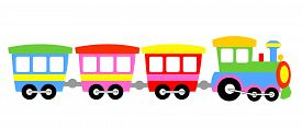 stock photo of loco  - Cute colorful kids toy train isolated on white background illustration - JPG