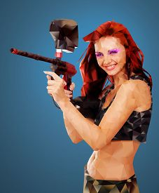 foto of paintball  - Low Poly Portrait of a Sexy young girl posing like playing paintball - JPG