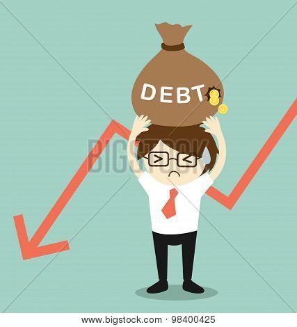 Business concept, Businessman holding debt. Vector illustration.