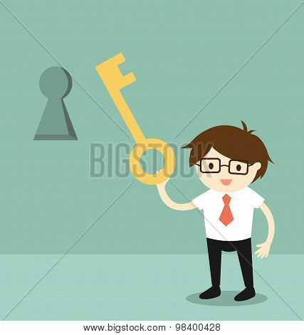 Business concept, Businessman holding a key to unlock keyhole on the wall. Vector illustration.