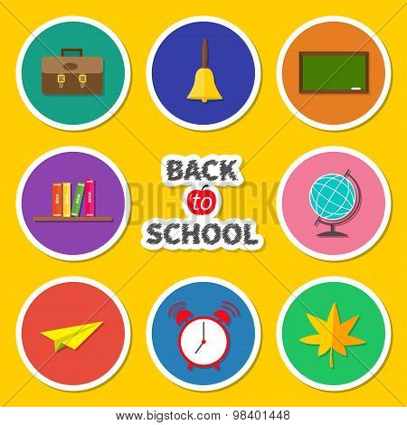 Back To School Round Icon Set. Green Board, Bell, Alarm Clock, World Globe, Book Shelf, Paper Plane,