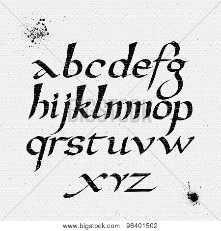 Vector alphabet. Hand drawn letters written with flat pen