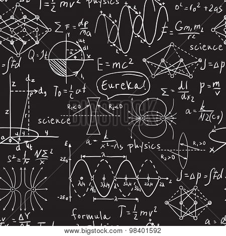 Physical formulas, graphics and scientific calculations on chalkboard. Vintage hand drawn illustrati