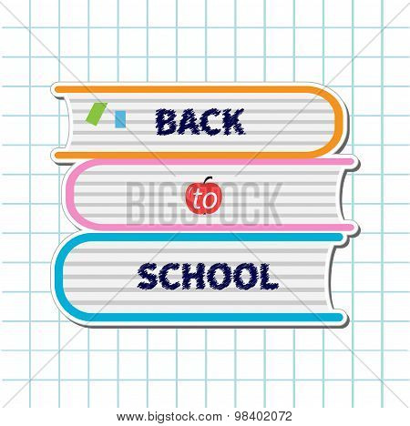 Back To School. Stack Of Books, Apple. Paper Sheet Background Exercise Book Flat Design Style.