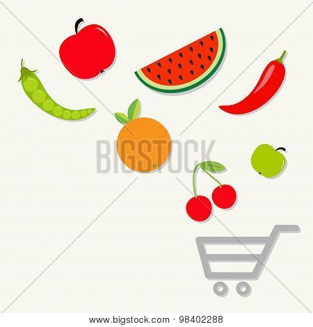 Organic Fruits And Vegetables Falling Into The Shopping Cart Basket. Healthy Food Eating Concept App