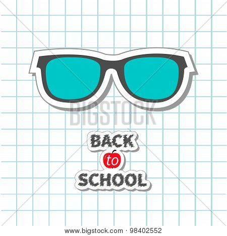 Back To School Glasses Icon On Paper Sheet Background Exercise Book Flat Design