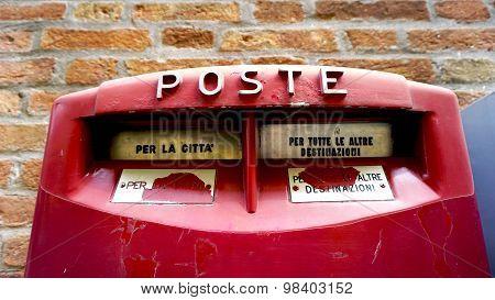 Close Up Red Postal Box Public