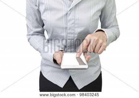 Woman Using Smart Phone Finger Touching Screen