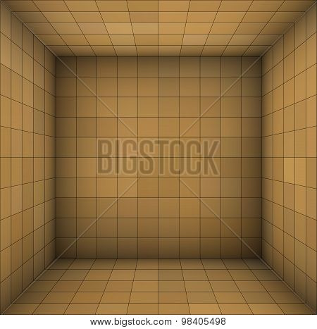 Empty Futuristic Room With Brown Beige Walls And Subdivision