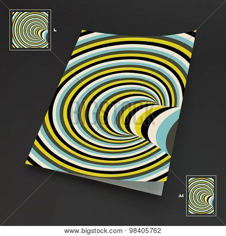 A4 Business Blank. Abstract Striped Background. Optical Art. 3d Vector Illustration.