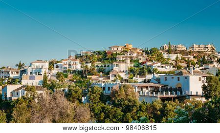 Mijas in Malaga, Andalusia, Spain. Summer Cityscape.