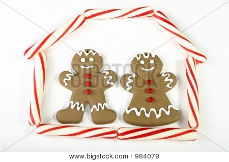Gingerbread Couple In Their House