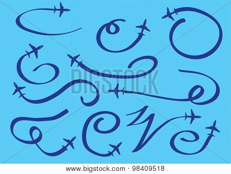 Contrails Of Flying Airplane Vector Illustration