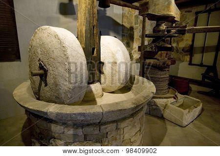Old millstones on island Korcula in Croatia