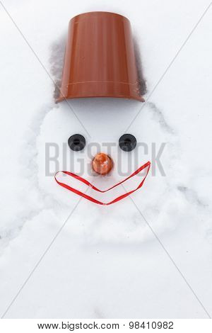 Christmas Snowman Instead Of Hands With Gloves