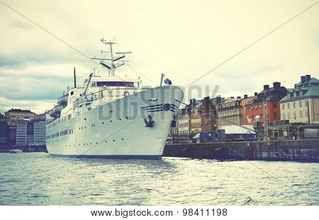 Waterfront in the Old Town of Stockholm (Gamla Stan). Vintage style filtred image