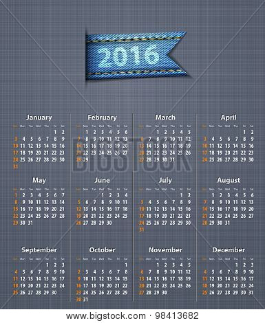 Stylish Calendar For 2016 On Linen Texture With Jeans Insertion