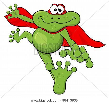 Frog Hero Jumps With Cape