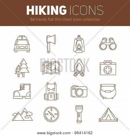 A Set Of Hiking Thin Lined Flat Icons With Camping Elements
