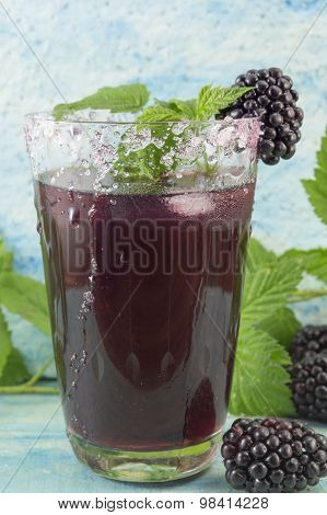 Fresh Blackberry Juice Decorated With Blackberry, Sugar And Blackberry Leaves