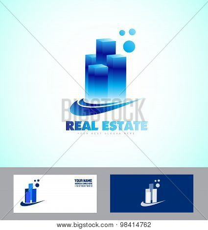 Real Estate Blue Skyscraper Logo