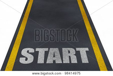 3d road with start text
