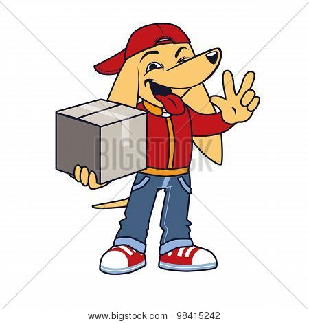 Asian dog in courier clothing with box