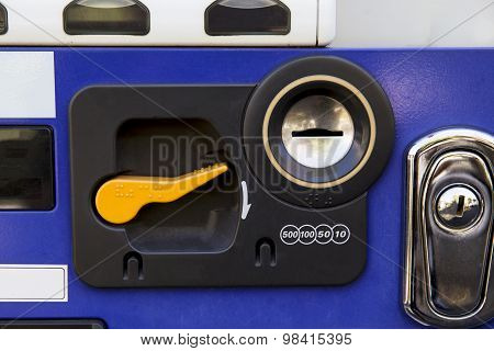 Close Up Of Coin Socket Vending Machine